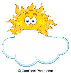 słońce, za, chmura, krycie