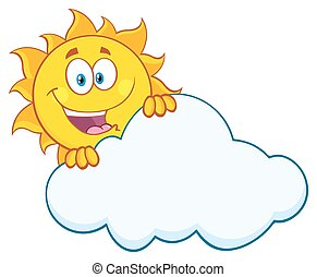 słońce, za, szczęśliwy, chmura, krycie