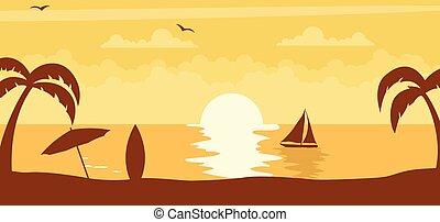słońce, zachód słońca, lato, tło, plaża