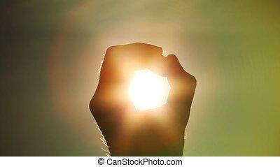słońce, zawiera, pięść, ręka