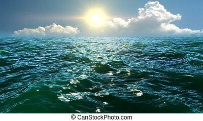 słońce, zielony, morze