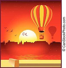 słońce, zmontowanie, balony