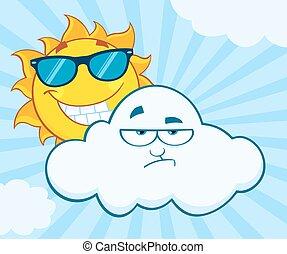 słońce, zrzędny, chmura, litery