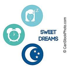 słodki, śni, design.