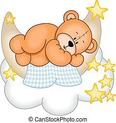 słodki, śni, niedźwiedź, teddy