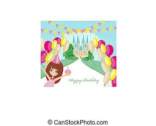 słodki, bajeczka, urodzinowa dziewczyna, zamek, karta