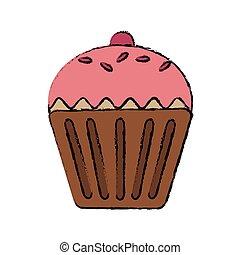 słodki, cupcake, ikona