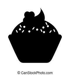 słodki, cupcake, zachwycający, ikona