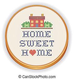 słodki, dom, haft