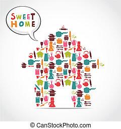 słodki, dom, karta