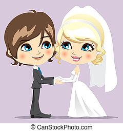 słodki, dzień, ślub