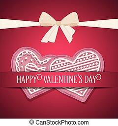 słodki, dzień, karta, valentine