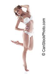 słodki, elegancki, bielizna, przedstawianie, dziewczyna, biały