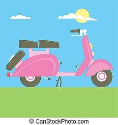 słodki, hulajnoga, ilustracja, wektor, motocykl, rysunek