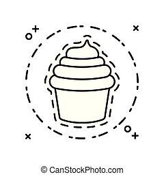 słodki, ikona, łata, cupcake