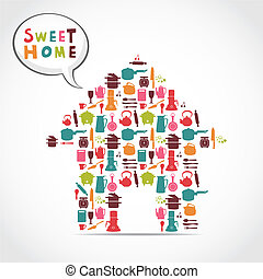słodki, karta, dom