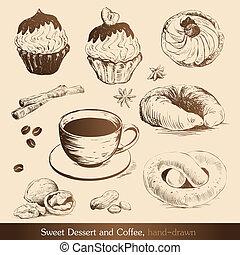 słodki, kawa, deser