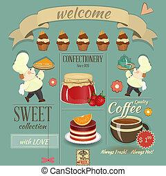 słodki, kawiarnia, projektować, retro, menu