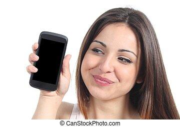 słodki, kobieta, ruchoma głoska, pokaz, ekran, czysty