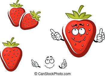 słodki, korona, pokryty obficie liśćmi, owoc, truskawka