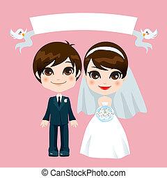 słodki, para, ślub