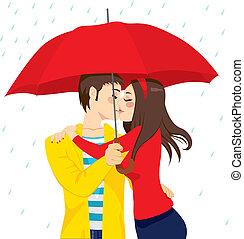 słodki, parasol, pocałunek, pod