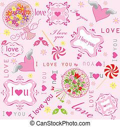słodki, tapeta, valentine
