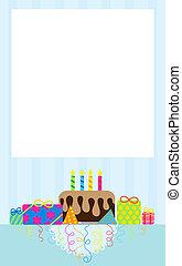 słodki, urodziny, invitiation