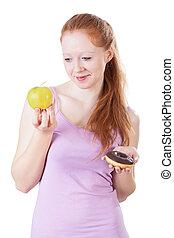 słodycze, owoce, kobieta, wybierając, między