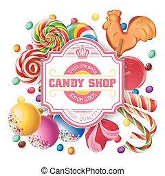 słodycze, wektor, ilustracja, tło