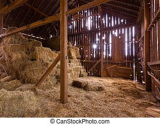 słoma, bele, wewnętrzny, stary, stodoła