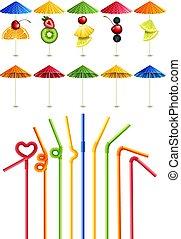 słoma, koktajlowe parasole