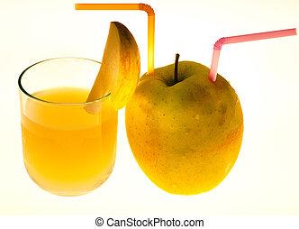 słoma, szkło, sok jabłkowy