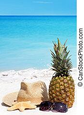 słoma, tropikalna plaża, kapelusz