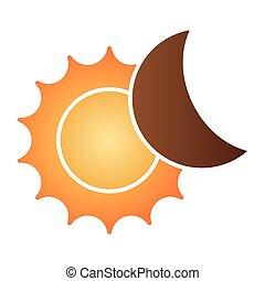 słoneczne zaćmienie, płaski, icon., farba astronomii, ikony, w, modny, płaski, style., przedimek określony przed rzeczownikami, słońce, i, księżyc, nachylenie, styl, projektować, projektowany, dla, sieć, i, app., eps, 10.