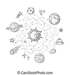 słoneczny, elements., system., doodle, przestrzeń, planeta, modny, wektor, meteor, handdrawn, kometa, lineart, astronomia