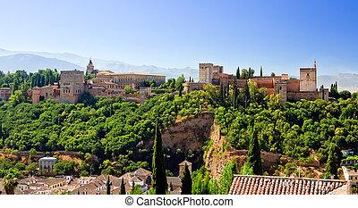 słoneczny, granada, alhambra, dzień, hiszpania