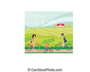słoneczny, kolarstwo, dzień