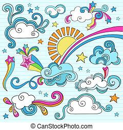 słoneczny, niebo, notatnik, chmury, doodles