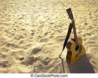 słoneczny, plaża, akustyczna gitara