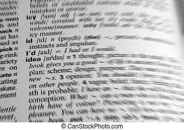 słownik, słowo, idea, -, prosperować, skutek