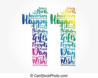 słowo, 11, chmura, urodziny, szczęśliwy
