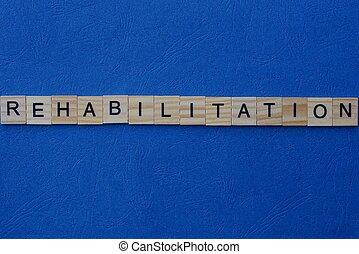 słowo, beletrystyka, drewniany, robiony, rehabilitacja