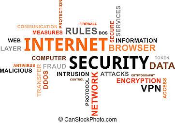 słowo, bezpieczeństwo, -, chmura, internet