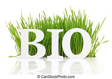 """słowo, """"bio"""", odizolowany, świeży, biały, trawa"""