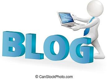 słowo, blog, wektor, logo, obsadzać komputer, 3d