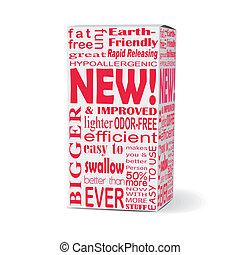słowo, boks, nowy produkt