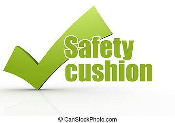 słowo, checkmark, poduszka, bezpieczeństwo, zielony