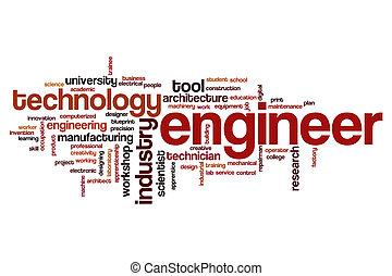 słowo, chmura, inżynier