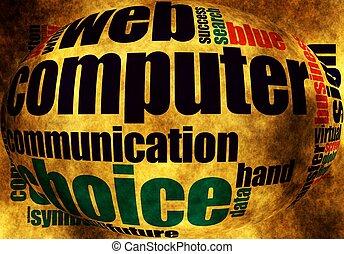 słowo, chmura, internet